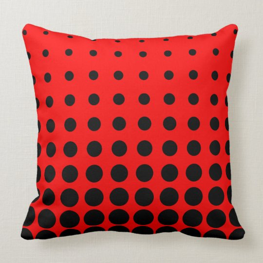 Black & Red Colourful Vector abstract dot Cushion