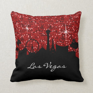 Black & Red Confetti Glitter Las Vegas Skyline Cushion