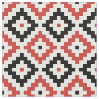 Black, Red & Cream Mayan Stepped Pattern Fabric
