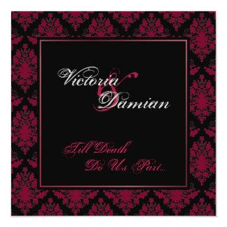"Black & Red Damask Gothic Wedding 5.25"" Square Invitation Card"