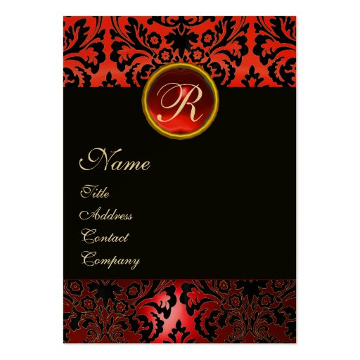 BLACK RED DAMASK MONOGRAM ,Ruby Gold Business Cards