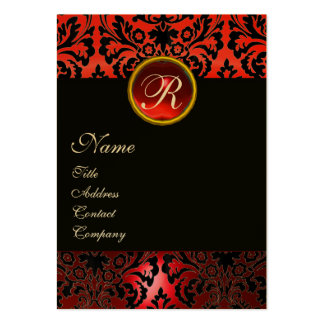 BLACK RED DAMASK MONOGRAM ,Ruby Gold Pack Of Chubby Business Cards