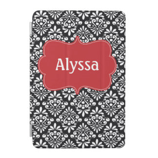 Black Red Damask Personalized Case iPad Mini Cover