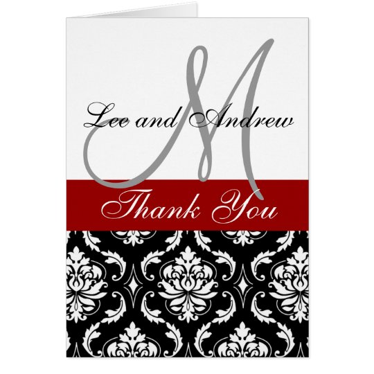 Black Red Damask Wedding Thank You Card