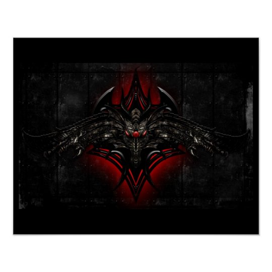 Black & Red Dragon Poster
