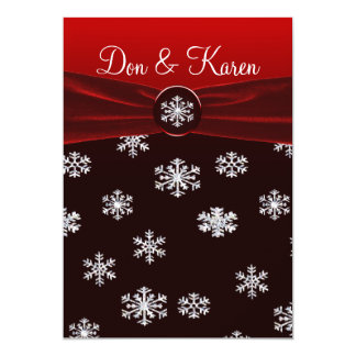 Black & Red Elegant Snowflakes Wedding Card