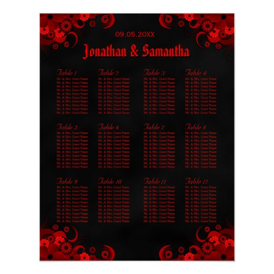 Black & Red Floral 12 Wedding Tables Seating
