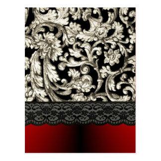 Black & red floral damask pattern postcard