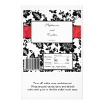 Black/Red Floral Damask Wedding Candy Wrapper Flyers