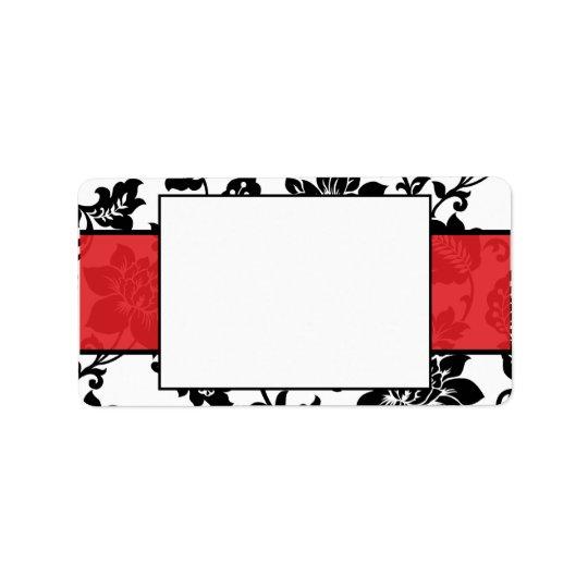 Black/Red Floral Damask Wedding Mailing Label