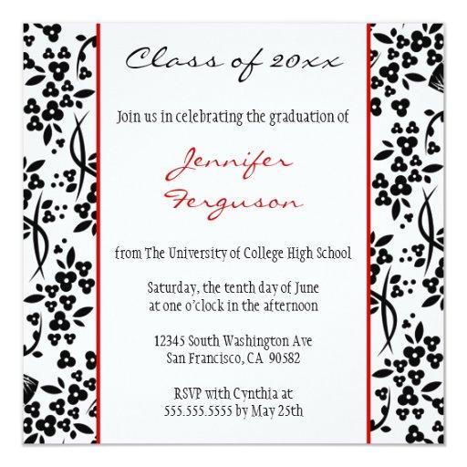 Black red floral graduation party announcement