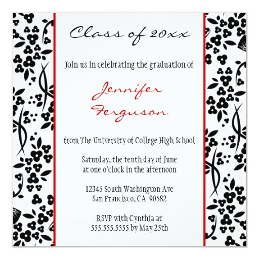 Black red floral graduation party announcement 13 cm x 13 cm square invitation card