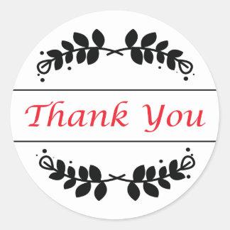 Black & Red Floral Leaf Frame Thank You Sticker