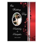 Black & Red Floral Wedding Photo Invitations