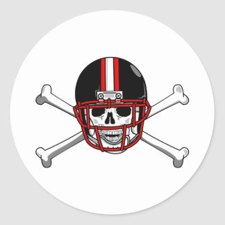 Black & Red Football Cross Bones Classic Round Sticker