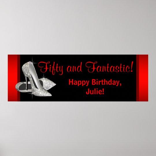 Black Red Glitter High Heels Birthday Party Banner