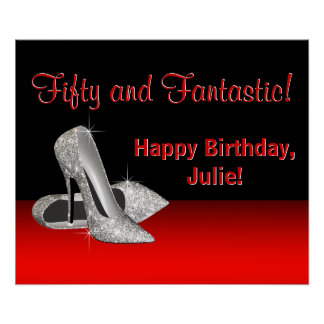 Black Red Glitter High Heels Birthday Party Banner Poster