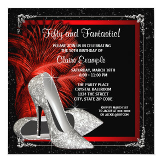 Black Red Glitter High Heels Womans 50th Birthday Card