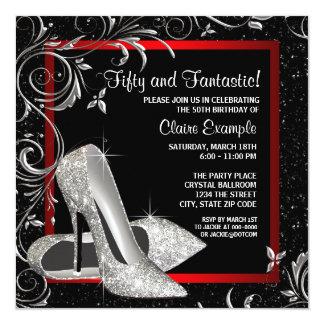 Black Red Glitter High Heels Womans Birthday Card