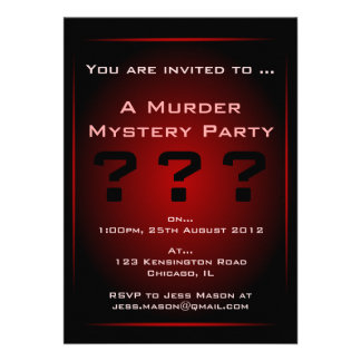 Black Red Glow Murder Mystery Party Invitation