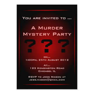 "Black & Red Glow Murder Mystery Party Invitation 5"" X 7"" Invitation Card"