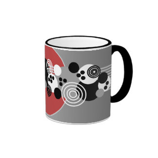Black Red Gray White Abstract Circles Mugs