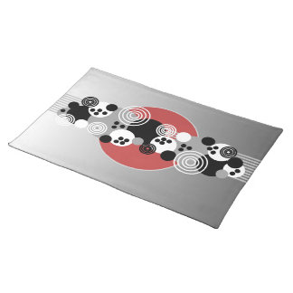 Black Red Gray White Abstract Circles Placemat
