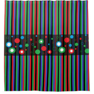 Black Red Green Blue Bubbles Modern Shower Curtain