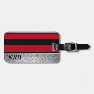 Black Red Grey Texture Design Monogram Luggage Tag