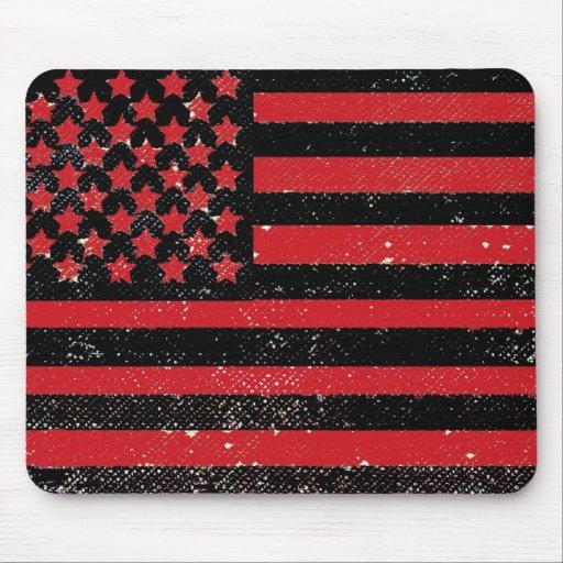 Black red grunge American flag Mousepad