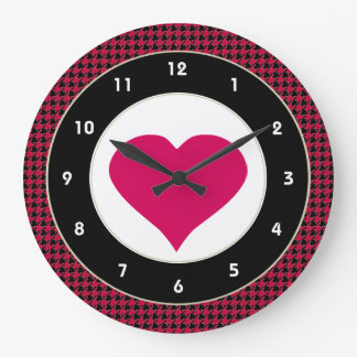 Black & Red Heart modern wall clock