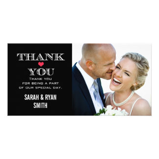 Black Red Heart Wedding Photo Thank You Cards
