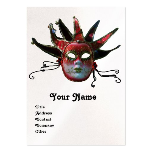 BLACK  RED JESTER MASK Masquerade Party Pearl Business Card Templates