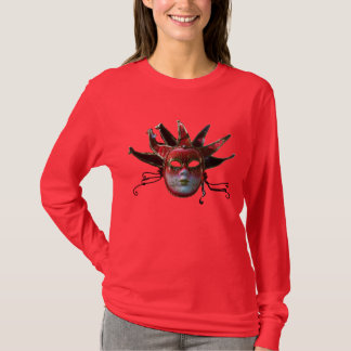 BLACK  RED JESTER MASK ,Masquerade Party T-Shirt