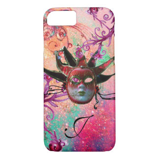 BLACK RED JESTER MASK Masquerade Pink Monogram iPhone 7 Case