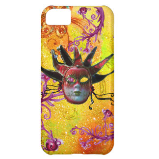 BLACK RED JESTER MASK Masquerade Yellow  Purple iPhone 5C Case
