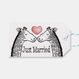 Black & Red Just Married Giraffe Red Heart Wedding Gift Tags