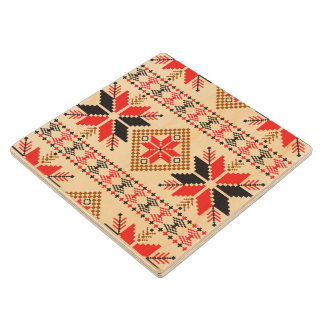 BLACK RED KNIT CROCHET EMBROIDERY PATTERN MAPLE WOOD COASTER