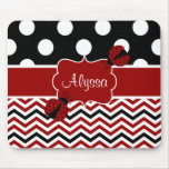Black Red Ladybug Chevron Personalised Mousepad