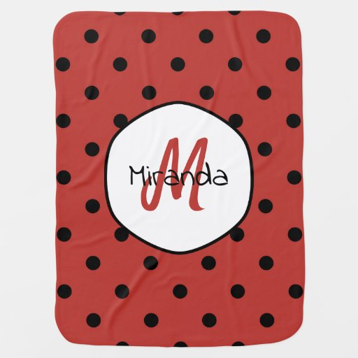 Black Red Ladybug Polka Dots Name and Monogram Baby Blanket