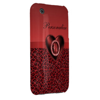 Black & Red Leopard Print & Bling Heart iPhone 3 Case