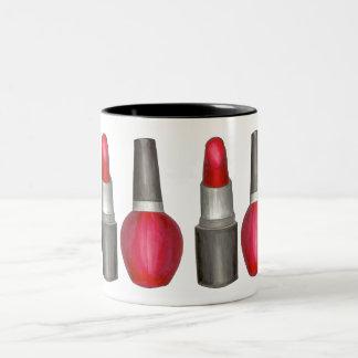 Black Red Lipstick Nail Polish Makeup Beauty Mug