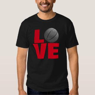 Black Red Love Basketball Sport T-Shirt