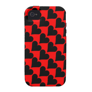 Black red love hearts case Case-Mate iPhone 4 covers