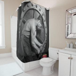 black red love mechanic showercurtain shower curtain