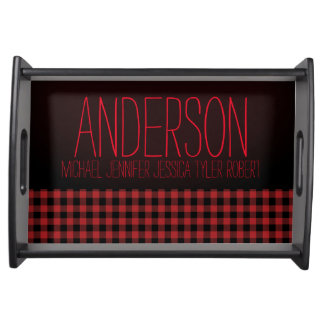 Black Red Plaid Family Names Serving Tray
