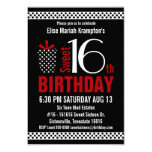 Black Red Polkadots Sweet 16 Birthday 9 Cm X 13 Cm Invitation Card