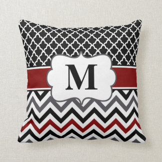 Black Red Quatrefoil Chevron Cushion
