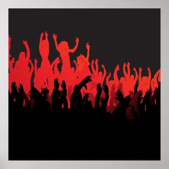Black Red Rave Dance Music Poster