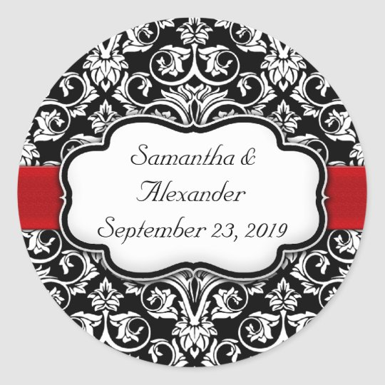 Black/Red Ribbon Damask Wedding Envelope Seal